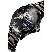 WINNER Hombre Reloj de Pulsera El reloj mecánico Cuerda Automática Huecograbado Acero Inoxidable Banda De Lujo Negro Negro