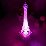 10 * 10 * 15cm 푸시 버튼 스위치 낭만적 인 단색 다채로운 빛 에펠 탑 빛 주도 램프