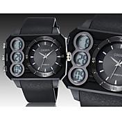OHSEN Hombre Reloj Deportivo Reloj de Pulsera Digital LED Calendario Cronógrafo Resistente al Agua Caucho Banda Negro