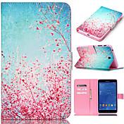 For Samsung Galaxy Etui Kortholder / Lommebok / med stativ / Flipp / Mønster Etui Heldekkende Etui Blomst PU-lær SamsungTab 4 10.1 / Tab