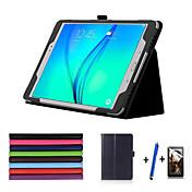 Etui Til Samsung Galaxy Tab A 9.7 med stativ Autodvale / aktivasjon Flipp Heldekkende etui Helfarge Hard PU Leather til