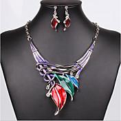 Mujer Brillante / Diamante Sintético Floral Flor Conjunto de joyas Pendientes / Collare - Floral / Lujo / Flor Verde / Azul / Arco iris