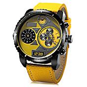 JUBAOLI Hombre Cuarzo Reloj de Pulsera Reloj Militar Reloj Casual Piel Banda Encanto Negro Azul Rojo Amarillo