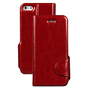 Funda Para iPhone 5 Apple Funda iPhone 5 Flip Funda de Cuerpo Entero Un Color Dura Cuero de PU para iPhone SE / 5s iPhone 5