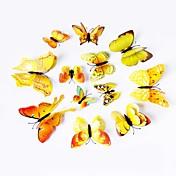 12 PC calcomanías arte simulación 3d pegatinas de pared de PVC de pared de la mariposa (colores surtidos)