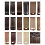 clip en extensiones de cabello 120g 24inch 60cm 5clips extensión recta larga sintética del pelo de pelo sintético 16 colores