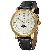 FORSINING Hombre Reloj de Pulsera El reloj mecánico Cuerda Automática Calendario Piel Banda Negro