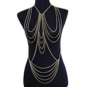 Mujer Joyería Corporal Cinturones metálicos collar arnés Para Cuerpo Sexy Europeo Crossover Multi capa joyería de disfraz Chapado en Oro