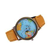 Hombre Reloj de Pulsera Reloj Casual / Mapa del Mundo Patrón Piel Banda Encanto / Reloj de Vestir Negro / Blanco / Marrón / Tianqiu 377