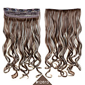 헤어 피스의 24inch의 60cm 합성 클립 곱슬 물결 모양의 머리 연장 # 613분의 12 혼합 색상의 내열성을