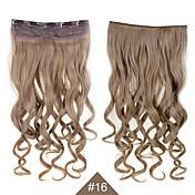"""klippet i syntetisk hår extensions 24 """"120g silkeaktig fiber hår # 16 brun krøllete parykk bølget ingen Shedding"""