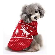 고양이 강아지 스웨터 강아지 의류 따뜻함 유지 크리스마스 순록 레드 블루 코스츔 애완 동물