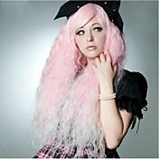 여성 인조 합성 가발 매우 긴 워터 웨이브 핑크 코스플레이 가발 할로윈 가발 카니발 가발 의상 가발