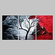 Pintada a mano Abstracto Horizontal Panorámico, Tradicional Lona Pintura al óleo pintada a colgar Decoración hogareña Tres Paneles