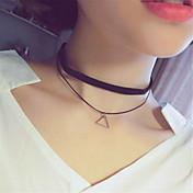 Mujer Redondo Cuadrado Triángulo Estrella Tatuaje Básico Ajustable Doble capa Gargantillas Collares con colgantes tatuaje Gargantilla