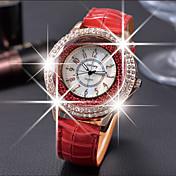 Mujer Reloj de cristal flotante Reloj de Moda Cuarzo Reloj Casual Piel Banda Elegant Negro Blanco Rojo Marrón