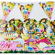 lujo de la princesa fiesta de cumpleaños 78pcs decoración decoraciones niños evnent fuentes del partido del partido 6 personas utilizan