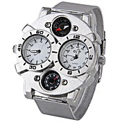 Oulm Hombre Reloj Militar Cuarzo Cuarzo Japonés Compass Termómetro Dos Husos Horarios Acero Inoxidable Banda Cool PlataBlanco Negro