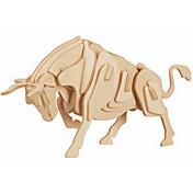 Rompecabezas Puzzles de Madera Bloques de construcción Juguetes de bricolaje Toro 1 Madera Marfil