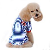 Perro Mono Pijamas Ropa para Perro Marinero Negro Rojo Azul Algodón Disfraz Para mascotas Hombre Mujer Bonito Casual/Diario