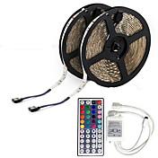 KWB 10 m Fleksible LED-lysstriper 600 LED 3528 SMD RGB Fjernkontroll / Kuttbar / Mulighet for demping / IP65 / Vanntett / Koblingsbar / Passer for kjøretøy / Fargeskiftende