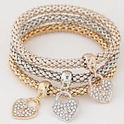 Dame Vedhend Armband Luksus Kjærlighed Multi Layer Mote Enkel Stil Europeisk Strass Fuskediamant Legering Hjerte Smykker Gave Daglig