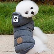 Perros Abrigos Saco y Capucha Chaleco Ropa para Perro Invierno Primavera/Otoño Un Color Moda Mantiene abrigado Gris Azul