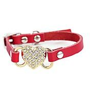 Gato Perro Cuello Ajustable / Retractable Corazón Brillante Mosaico Cuero de PU Rojo Azul Rosa