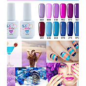 Gel UV para esmalte de uñas 15ml 1 Glitters Gel de color UV Clásico Empapa de Larga Duración Diario Glitters Gel de color UV Clásico Alta