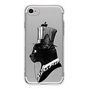 Etui Til Apple Etui iPhone 5 iPhone 6 iPhone 7 Ultratynn Gjennomsiktig Mønster Bakdeksel Katt Myk TPU til iPhone 7 Plus iPhone 7 iPhone