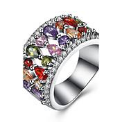 Dame Kubisk Zirkonium Ring - Zirkonium, Kobber, Titanium Stål Dråpe Luksus 6 / 7 / 8 Sølv Til Fest / Daglig / Avslappet / Fuskediamant