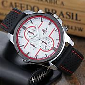 Hombre Reloj Deportivo / Reloj de Pulsera Reloj Casual / Cool Silicona Banda Casual / Moda / Reloj de Vestir Negro / Blanco / Rojo