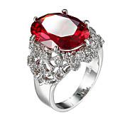 Dame Kubisk Zirkonium Ring - Zirkonium, Kubisk Zirkonium Europeisk, Mote 6 / 7 / 8 Rød Til Avslappet