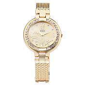 Dame Simulert Diamant Klokke Armbåndsur Moteklokke Quartz Imitasjon Diamant Legering Band Blomst Elegant Sølv Gylden Rose Gull