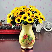 Flores Artificiales 1 Rama Estilo Simple Girasoles Flor de Mesa