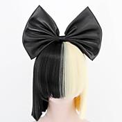Syntetiske parykker / Kostymeparykker Rett Blond Wig Med lugg Syntetisk hår Sløyfe / Sia Styling Svart / Blond Parykk Dame Kort Lokkløs