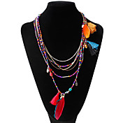Mujer Forma Diseño Único Bohemio Collares Declaración Pluma Legierung Collares Declaración Fiesta Diario Casual Joyería de disfraz