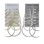Mujer Pendients de aro Joyas Diseño Básico Las formas múltiples de desgaste Clásico joyería de disfraz Legierung Forma Redonda Joyas Para