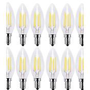 12PCS 4W 400lm E14 LED필라멘트 전구 C35 4 LED COB 장식 따뜻한 화이트 차가운 화이트 2700 6000K AC 220-240V