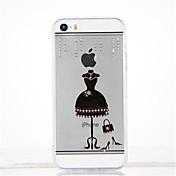 Para Diamantes Sintéticos Manualidades Funda Cubierta Trasera Funda Chica Sexy Suave TPU para Apple iPhone SE/5s iPhone 5