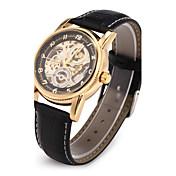 남성 손목 시계 기계식 시계 일본 쿼츠 중공 판화 오토메틱 셀프-윈딩 PU 밴드 럭셔리 블랙