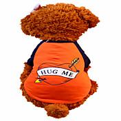 Perro Camiseta Ropa para Perro Corazón Naranja Algodón Disfraz Para mascotas Hombre Mujer Moda