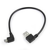 Mini 5pin usb de 90 grados a la derecha masculina en ángulo a la izquierda del usb 2.0 cable 20cm carga de datos masculino