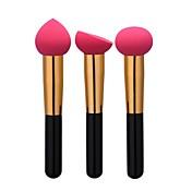 3pcs Profesjonell Makeup børster Foundationbørste / Svampapplikator / Pudderbørste Nylon Børste Bærbar / Reisen / Økovennlig Aluminium