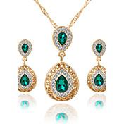 Mujer Cristal Conjunto de joyas - Cristal, Brillante Gota Lujo, Colgante, Moda Incluir Collar / pendientes / Los sistemas nupciales de la joyería Rojo / Verde / Azul Para Boda / Fiesta / Ocasión