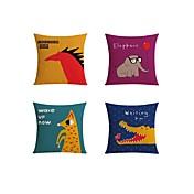4 PC Lino Funda de almohada Cobertor de Cojín Almohada de cama Almohada de cuerpo Almohada de viaje El amortiguador del sofá,Vida Salvaje