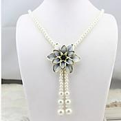 Mujer Gargantillas Collares con colgantes Collares de cadena Perla artificial Hebra Única Forma de FlorDiseño Básico Diseño Único