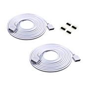 2pcs el cable de extensión largo de los 2m conecta el enchufe femenino para la tira del rgb 3528 5050 con 4pcs 4pin conectan el varón