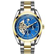 Tevise Hombre Reloj de Vestir Chino Cuerda Automática Huecograbado Cuero Auténtico Banda Casual Negro Azul Dorado