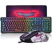 MK70 USB con cable llevó arco iris teclado retroiluminado de juego y ratón combo con el mousepad de gran tamaño del juego fresco